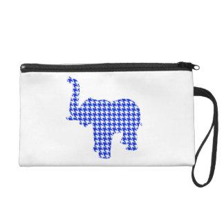 Blue Houndstooth Elephant Wristlet Purse