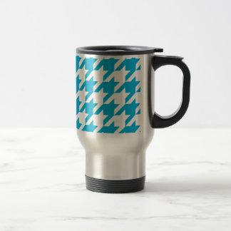 Blue Houndstooth Travel Mug