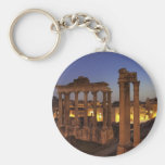 Blue hour at the Forum Romanum, Rome Basic Round Button Keychain