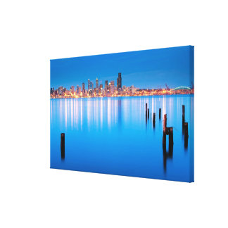 Blue hour view of downtown Seattle Canvas Print