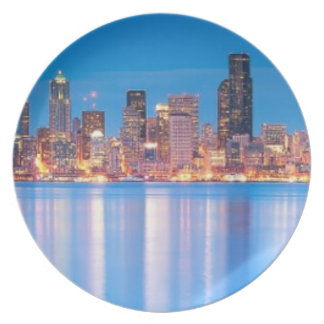 Blue hour view of downtown Seattle Dinner Plate