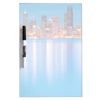 Blue hour view of downtown Seattle Dry Erase Board