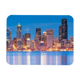 Blue hour view of downtown Seattle Magnet