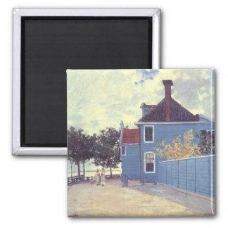 Blue House at Zaandam by Claude Monet, Vintage Art 2 Inch Square Magnet