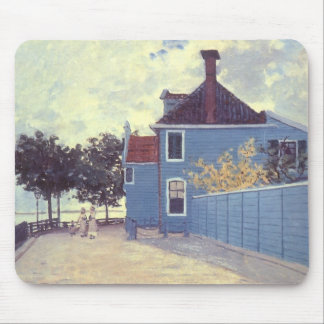 Blue House at Zaandam by Claude Monet, Vintage Art Mouse Pad