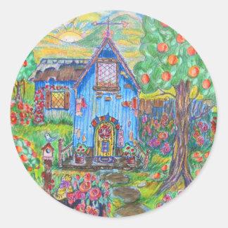Blue House Classic Round Sticker