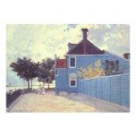 Blue House Zaandam, Monet, Vintage Impressionism Custom Invitations