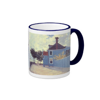 Blue House Zaandam, Monet, Vintage Impressionism Ringer Coffee Mug