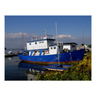 Blue houseboat Isle of Wight Poster