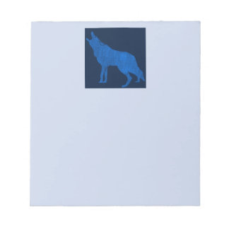 Blue Howling Coyote Vintage Animals Notepad