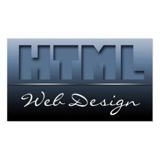 Blue HTML Web Design Sleek Business Cards