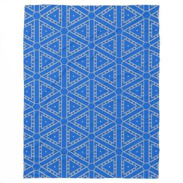 Aztec Themed Blue Hue 4 Hugh Fleece Blanket