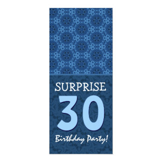 Blue Hues Modern 30th Surprise Birthday Party V7A Card