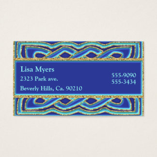 Blue Hues & Ornate Metallic Gold Business Card