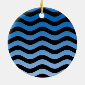 Blue Hues Wavy Stripes Decor Ceramic Ornament