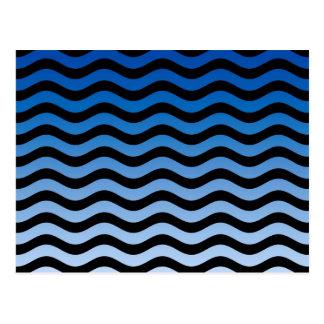 Blue Hues Wavy Stripes Decor Postcard