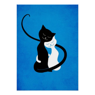 Blue Hugging Love Cats Poster
