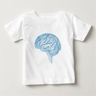 blue human brain with geometric mesh pattern baby T-Shirt