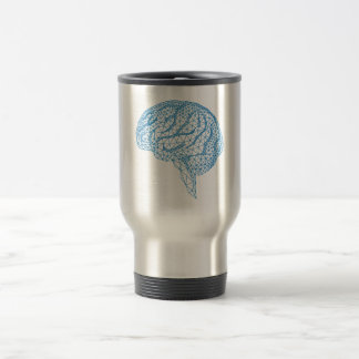 blue human brain with geometric mesh pattern 15 oz stainless steel travel mug