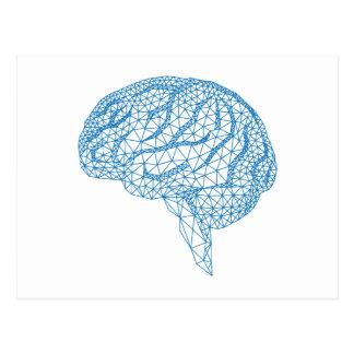 blue human brain with geometric mesh pattern postcard