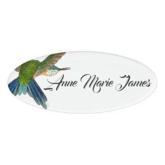 Blue Hummingbird Bird Wildlife Animal Name Tag