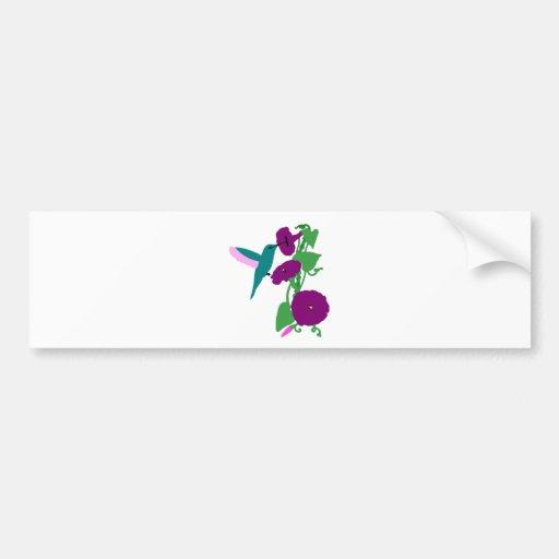 Blue Hummingbird & Morning Glory Vine Bumper Sticker