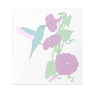 Blue Hummingbird & Morning Glory Vine Notepad