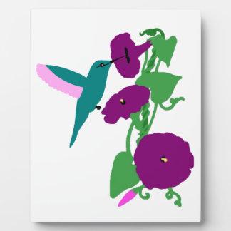 Blue Hummingbird & Morning Glory Vine Plaque