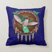 Blue Hummingbird Native American design pillow art