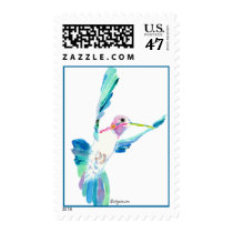 Blue Hummingbird Watercolor Postage Stamps