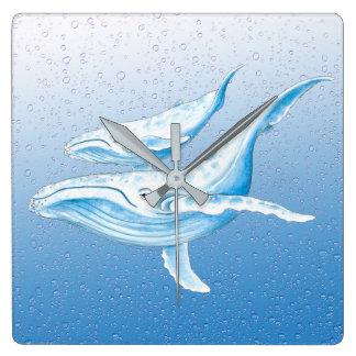 Blue Humpbacks Waterdrops Square Wall Clock