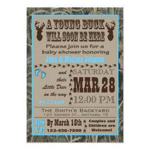 Delightful Blue Hunting Camo Baby Shower Invitations