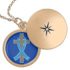 Blue Hurricane Sandy Awareness Ribbon Cross Locket Necklace