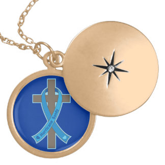 Blue Hurricane Sandy Awareness Ribbon Cross Round Locket Necklace
