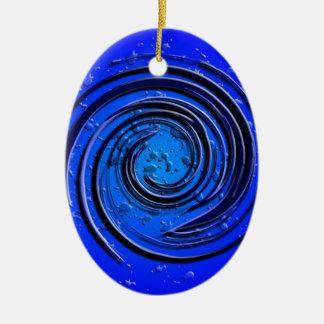 Blue Hurricane Swirl Ceramic Ornament