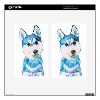 Blue Husky Pup Watercolour Skin For Kindle Fire