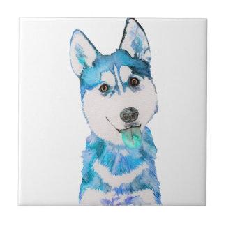 Blue Husky Pup Watercolour Tile