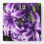 Blue Hyacinth I Spring Floral Square Wall Clock