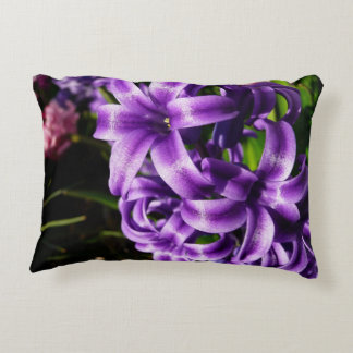 Blue Hyacinth II Spring Floral Accent Pillow
