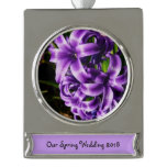 Blue Hyacinth II Spring Floral Silver Plated Banner Ornament