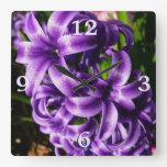 Blue Hyacinth II Spring Floral Square Wall Clock