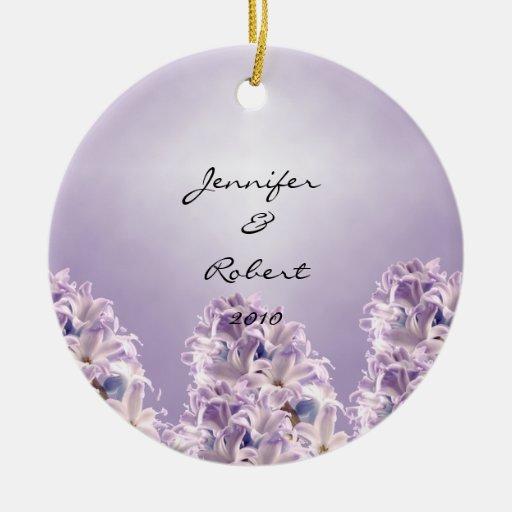 Blue Hyacinth on Lilac Christmas Tree Ornament