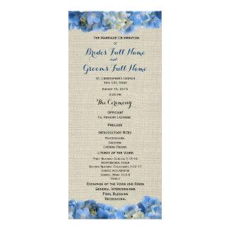 Blue Hydrangea and Burlap Wedding Program Rack Card Template