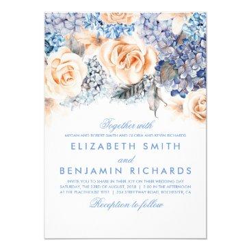 lovelywow Blue Hydrangea and Peach Flowers - Floral Wedding Card
