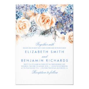 Blue Hydrangea And Peach Flowers Fl Wedding Invitation