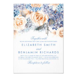 Blue Hydrangea and Peach Flowers - Floral Wedding Invitation