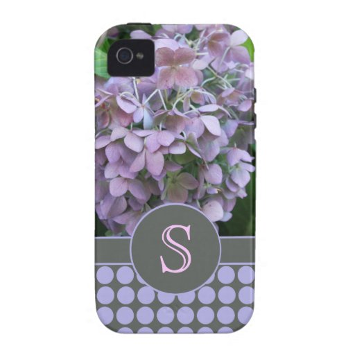 Blue Hydrangea and Polka Dots Case For The iPhone 4