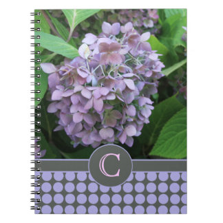 Blue Hydrangea and Polka Dots Spiral Notebook