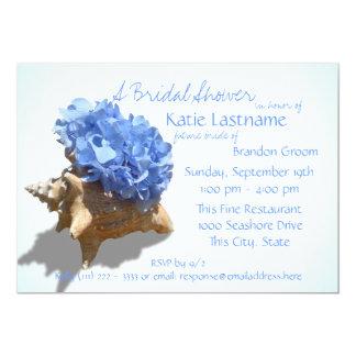 Blue Hydrangea and Seashell Bridal Shower 5x7 Paper Invitation Card