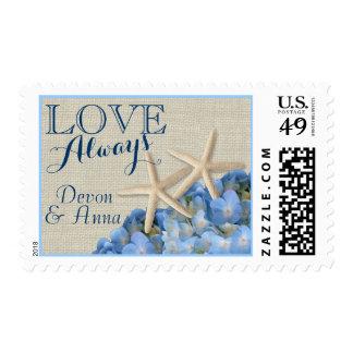 Blue Hydrangea and Starfish Postage